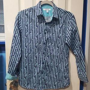 Isaac Mizrahi Boys' Turquoise Flying Stripe Shirt